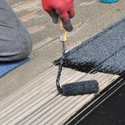 non slip rubberised paint for wood being applied