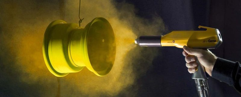 Yellow Powder coating sprayed on a metal substrate