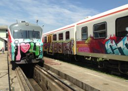 trains with graffiti and anti graffiti coatings for easy removal