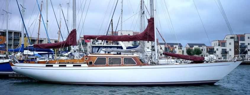 Yacht in UK harbor applied with yacht paint