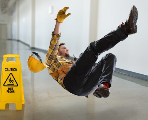 Man falling on floor without non slip paint