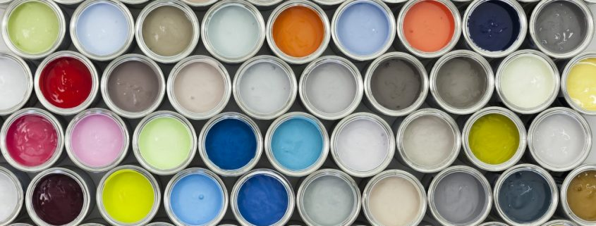 paint cans in various colours