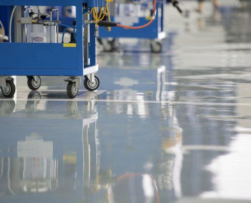 Industrial floor coatings in a garage