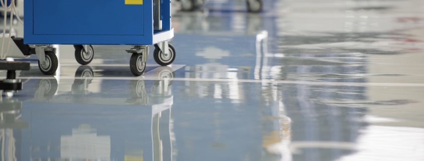 Industrial floor coatings in a garage