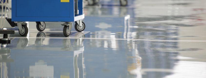 epoxy floor coating in a garage