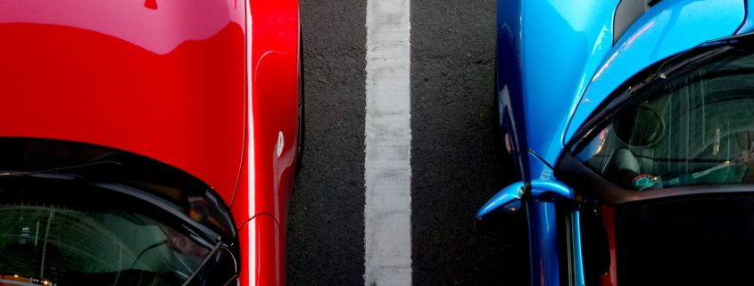 red and blue cars with car paint and car protection coating