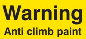 Warning about anti climb paint