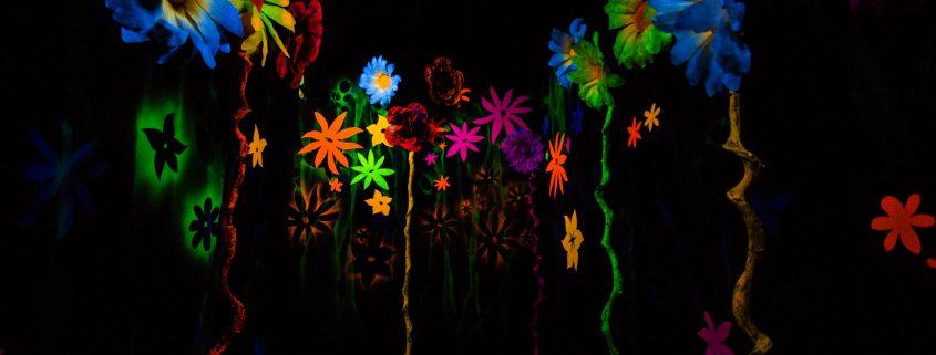 Glow in the dark paints applied on a wall making it art work