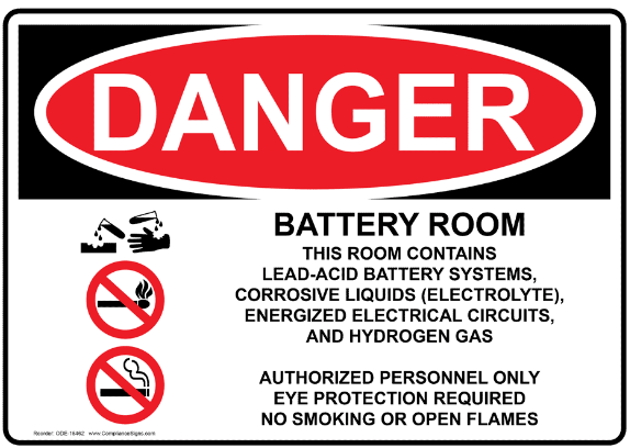 Battery room warning sign warning about aggressive acids