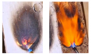 Comparison of fire resistant paint treated vs untreated wood