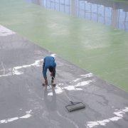 Self leveling epoxy coating is a common floor coating.