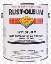 Concrete coating can from Rust-Oleum with water besed PU concrete paint.
