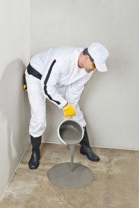 poring PU coating on floor