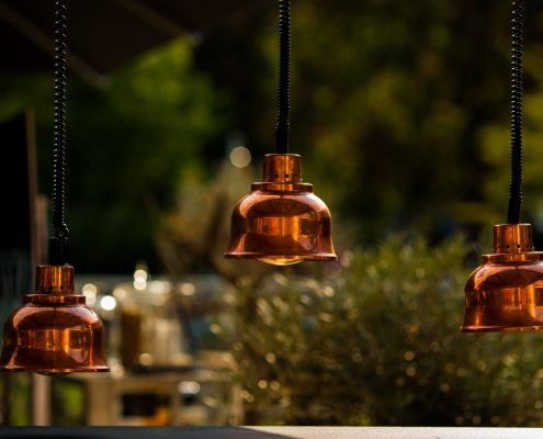 Three lamps with copper coating