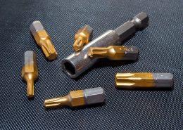 drills with golden titanium nitride coating