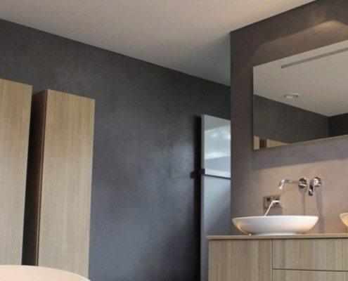 Concrete Effect Wall Paint Makes A Statement In A Bathroom.