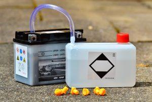battery on acid resistant flooring