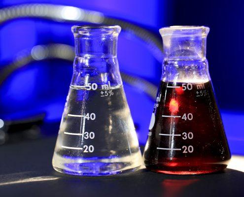 acids in bottles on a acid resistant flooring