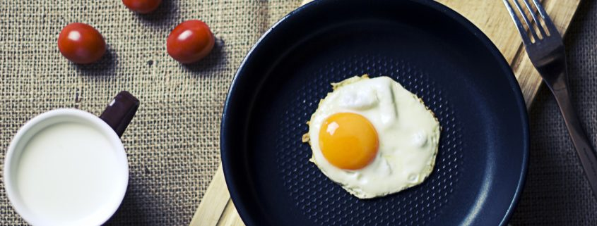 fluoropolymer coating on a cooking pan with an egg