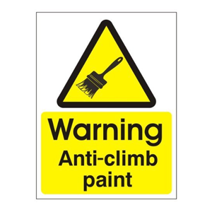 Anti climb paint warning sign