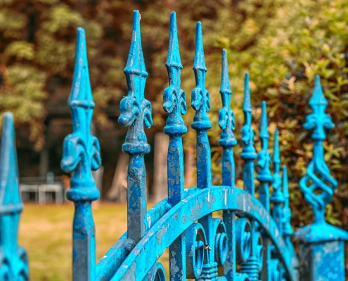 powder coating quality control needed for a blue fence