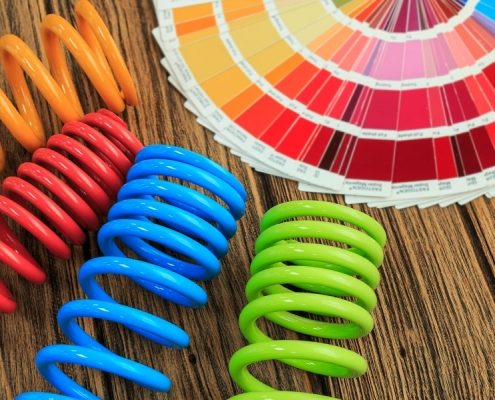 powder coating colours presented in a chart and samples