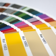 powder coating colours presented in a RAL chart