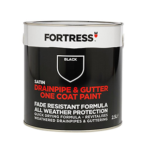 Fortress Drainpipe & Gutter One Coat Paint 2.5L Black Satin