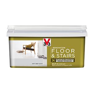 V33 Renovation Floor & Stairs Paint Soft Grey Satin 2L
